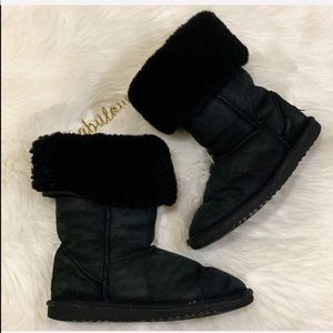 UGG black leather tall shearling boots